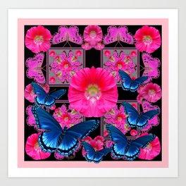 FUCHSIA PINK FLOWERS BLUE BUTTERFLIES ABSTRACT Art Print