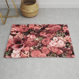 Fantasy flower garden. Delicate blooming elegant pastel coral red summer flowers artwork. Vintage glamorous moody artistic floral botanical design in warm tones. Beauty of nature. Rug