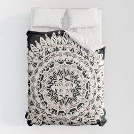 Metallic White Floral Mandala on Black Background Comforters