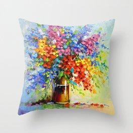 Bouquet of wild flowers Throw Pillow