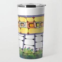 Funky yellow architectural design 51 Travel Mug