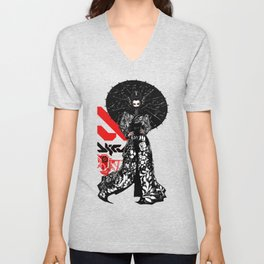 Japanese Illustration Fine Art Cyberpunk Vaporwave Style  Unisex V-Neck