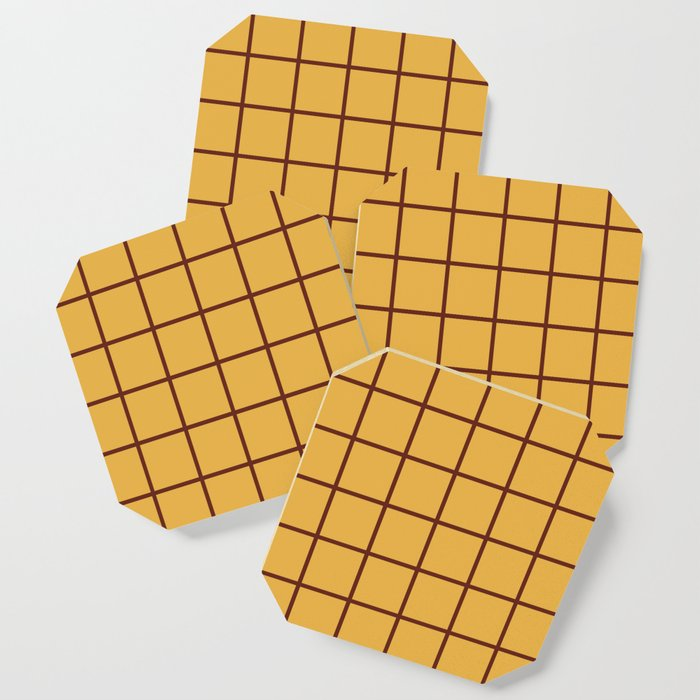 Grid Pattern Brown and Yellow Coaster
