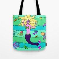 mermaid Tote Bags featuring Mermaid by Linda Tomei