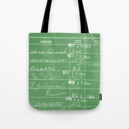 Library Card 23322 Negative Green Tote Bag