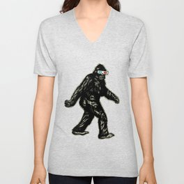 GONE SQUATCHIN' WITH 3D GLASSES Unisex V-Neck