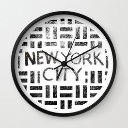 new york city typography illustration Wall Clock