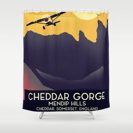 Cheddar Gorge vintage travel poster. Shower Curtain