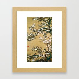 12,000pixel-500dpi - Ito Jakuchu - Malus halliana and white-eye - Digital Remastered Edition Framed Art Print