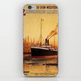 Vintage French Orient Shipping line Paris Mediterranean iPhone Skin