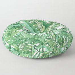 Green tropical leaves III Floor Pillow