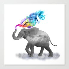 Colorful Smoky Clouded Elephant Canvas Print