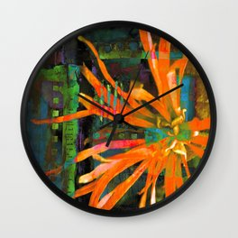 Electric Floral Burst in Tangerine Wall Clock