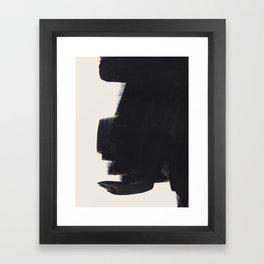 Mid Century Modern Minimalist Abstract Art Brush Strokes Black & White Ink Art Colorfield Framed Art Print