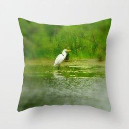Marsh Egret Throw Pillow