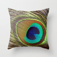 peacock feather Throw Pillows featuring Peacock Feather by Kim Bajorek