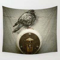 pigeon Wall Tapestries featuring The Pigeon Landed on the Water Fountain by Victoria Herrera