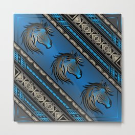 Horse Nation (Blue) Metal Print