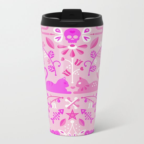Kitten Lovers – Pink Ombré Metal Travel Mug