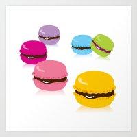 macaron Art Prints featuring macaron by taichi_k