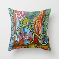 onward Throw Pillows featuring Onward-Whimsical Tricycle Painting by Elizabeth Gonzalez Art