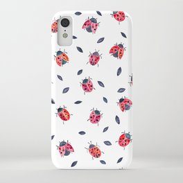Lucky Ladybugs & Black Leaves iPhone Case