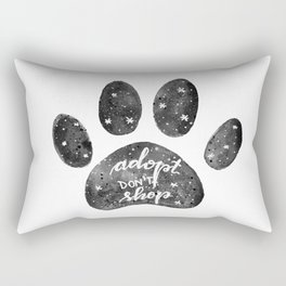 Adopt don't shop galaxy paw - black and white Rectangular Pillow