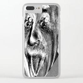 Einstein's Demon / manipulated / black and white / Clear iPhone Case
