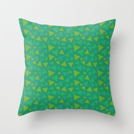 animal crossing grass pattern triangle spring green Throw Pillow