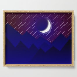 Crescent Moon in Night over the Mountains Nature Abstract art Serving Tray