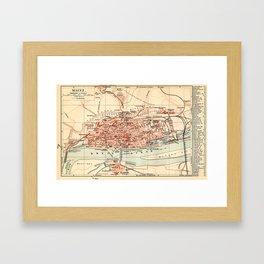 Vintage Map of Mainz Germany (1905) Framed Art Print