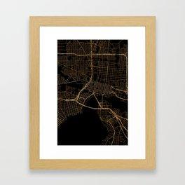Black and gold Jacksonville map Framed Art Print