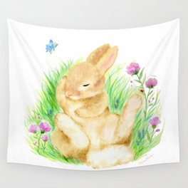 Snoozing Hare Wall Tapestry