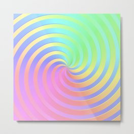 Rainbow Chrome Spiral Metal Print