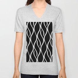 Abstract black and white modern wave stripes Unisex V-Neck