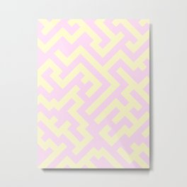 Cream Yellow and Pink Lace Diagonal Labyrinth Metal Print