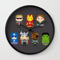 avenger Wall Clocks featuring Pixel Art - Avenger parody by Cloudsfactory