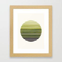 Olive Green Mid Century Modern Minimalist Scandinavian Colorful Stripes Geometric Pattern Round Circ Framed Art Print