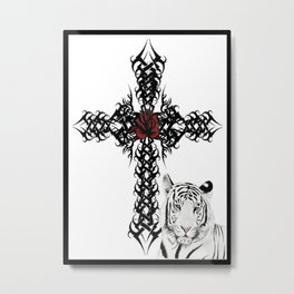 Tiger & Cross Metal Print