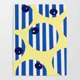 snooker balls in blue Poster