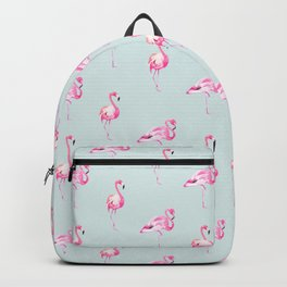 Flamingos, Pink, Blue, Nursery, Minimal, Pattern, Modern art Backpack