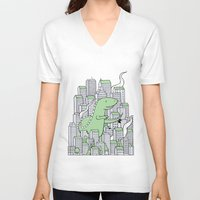 godzilla V-neck T-shirts featuring Godzilla by Mild Peril Media