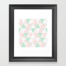 Pastel mint coral pink floral quilt triangle pattern basic minimal charlotte winter prints Framed Art Print