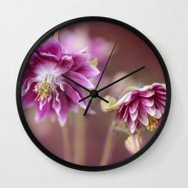 Light pink columbine flowers Wall Clock