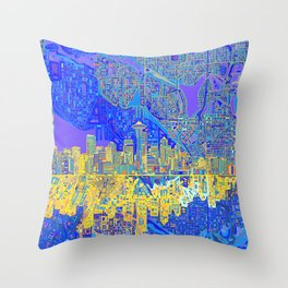 seattle city skyline Throw Pillow