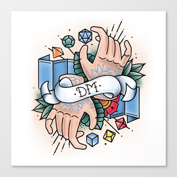 Dungeon Master - Vintage D&D Tattoos Canvas Print