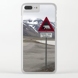 Polar bears traffic sign in Svalbard Clear iPhone Case