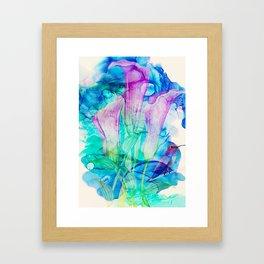 alcohol inks spring floral Framed Art Print