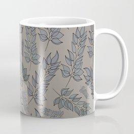 Grey green blue muted leaf pattern Coffee Mug
