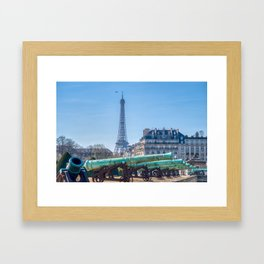 Cannons outside Les Invalides and The Eiffel Tower - Paris Framed Art Print